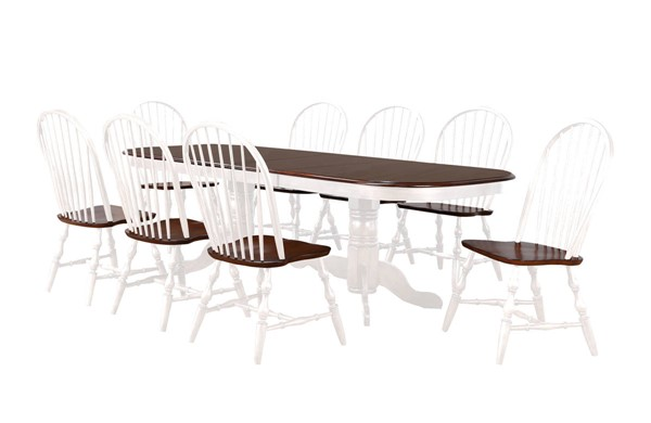 Sunset Trading Andrews Antique White Chestnut Double Pedestal Extendable 9pc Dining Set SST-DLU-ADW4296-C30-AW9PC