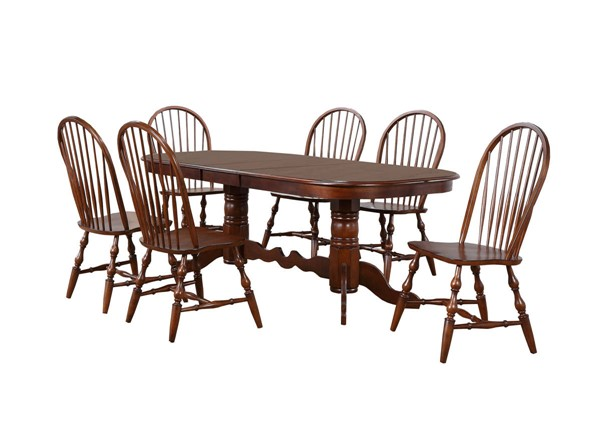 Sunset Trading Andrews Chestnut Double Pedestal Extendable 7pc Dining Set SST-DLU-ADW4296-C30-CT7PC