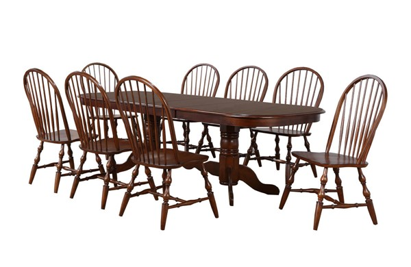 Sunset Trading Andrews Chestnut Double Pedestal Extendable 9pc Dining Set SST-DLU-ADW4296-C30-CT9PC