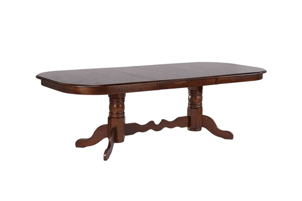 Sunset Trading Andrews Chestnut Double Pedestal Extendable Dining Table SST-DLU-ADW4296-CT
