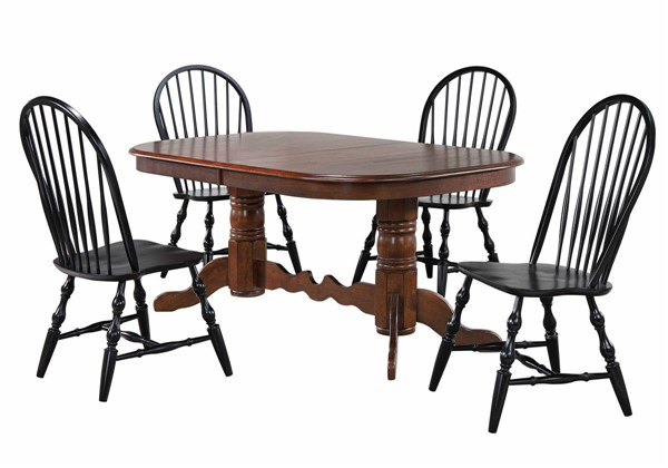 Sunset Trading Andrews Distressed Brown Black Double Pedestal 5pc Dining Set SST-DLU-ADW4296CT-C30-AB5PC