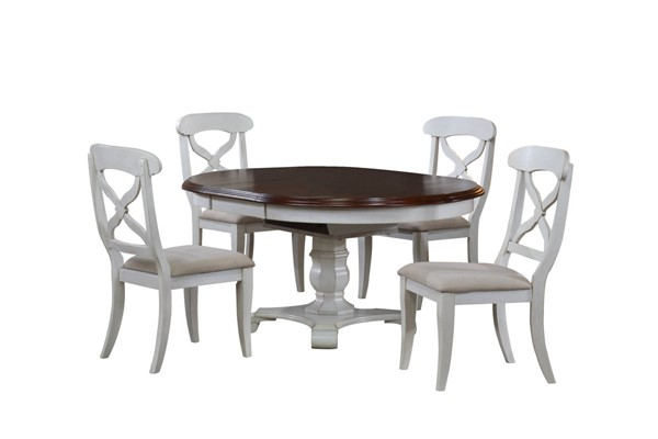 Sunset Trading Andrews Antique White Chestnut Oval Butterfly Leaf 5pc Dining Sets SST-DLU-ADW4866-C12-5PC-VAR