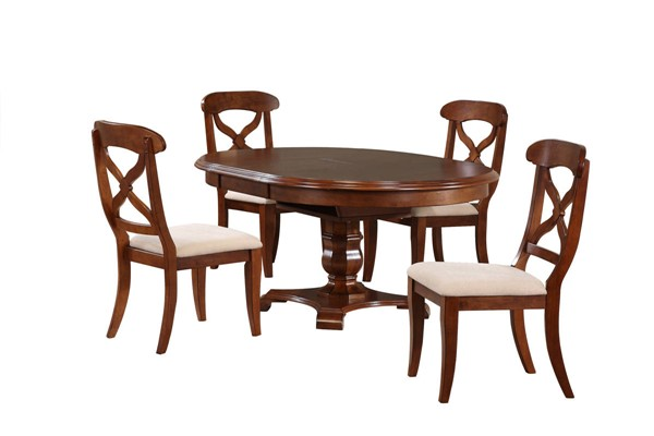 Sunset Trading Andrews Chestnut Oval Butterfly Leaf 5pc Dining Set SST-DLU-ADW4866-C12-CT5PC