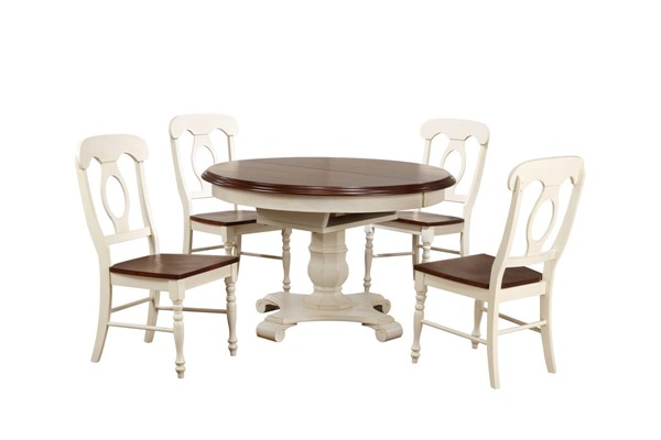 Sunset Trading Andrews Antique White Chestnut Round 5pc Dining Set with Napoleon Chairs SST-DLU-ADW4866-C50-AW5PC