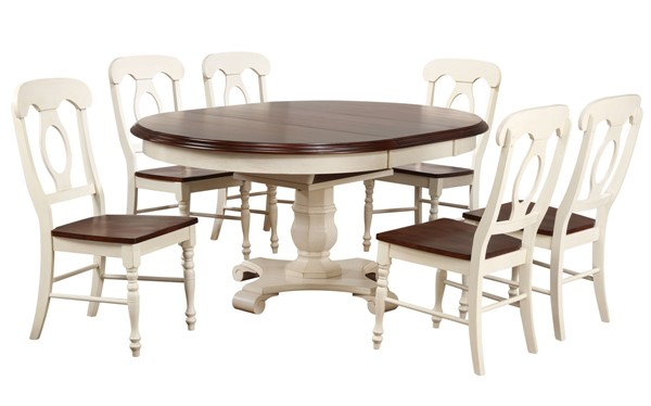 Sunset Trading Andrews Antique White Chestnut Butterfly Leaf 7pc Dining Set with Napoleon Chairs SST-DLU-ADW4866-C50-AW7PC