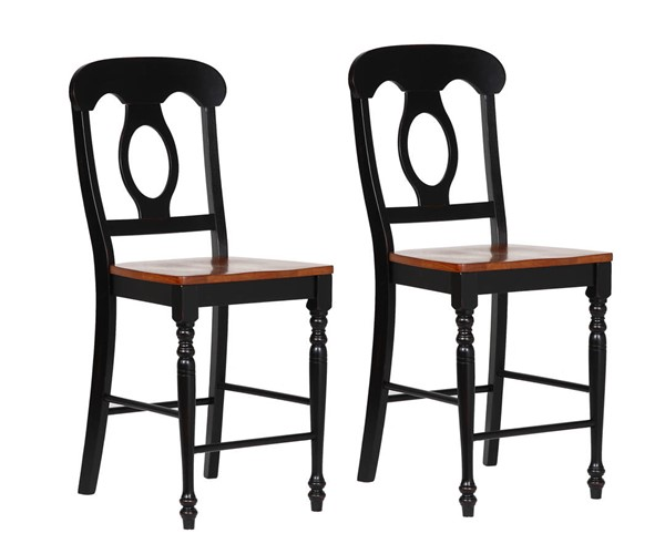 2 Sunset Trading Antique Black Cherry Napoleon Barstools SST-DLU-B50-BCH-2