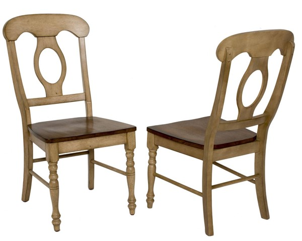 2 Sunset Trading Brook Wheat Pecan Napoleon Dining Chairs SST-DLU-BR-C50-PW-2