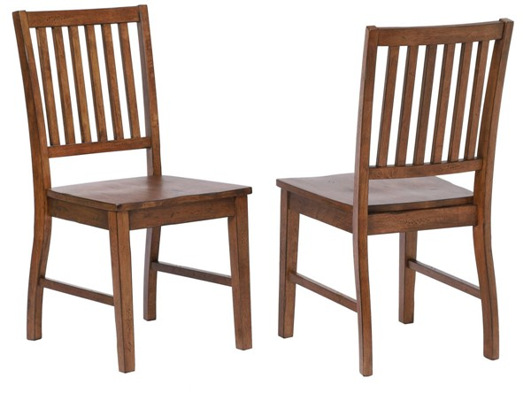 2 Sunset Trading Simply Brook Brown Slat Back Dining Chairs SST-DLU-BR-C60-AM-2