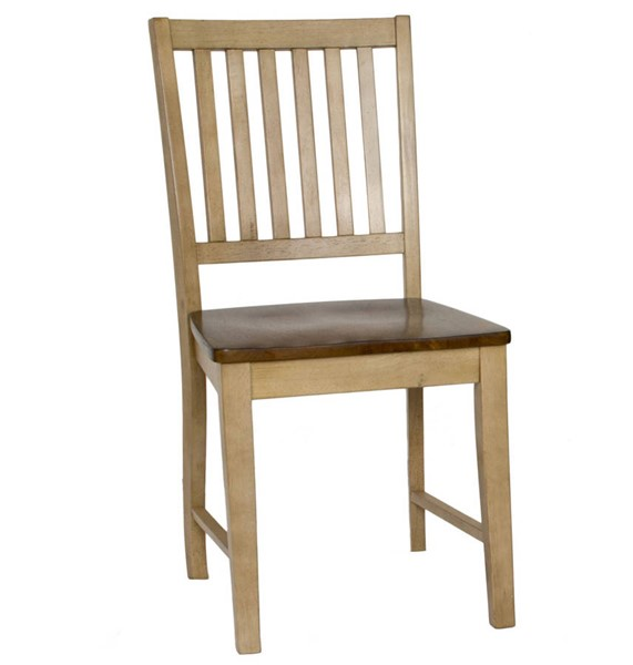2 Sunset Trading Brook Wheat Pecan Slat Back Dining Chairs SST-DLU-BR-C60-PW-2