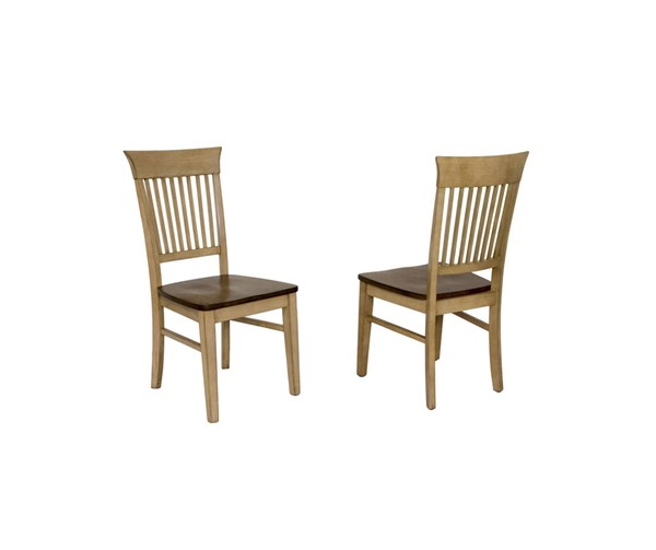 2 Sunset Trading Brook Wheat Pecan Fancy Slat Dining Chairs SST-DLU-BR-C70-PW-2