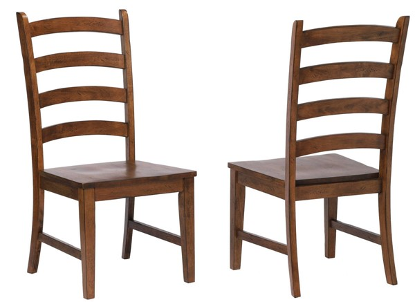 2 Sunset Trading Simply Brook Brown Ladder Back Dining Side Chairs SST-DLU-BR-C80-AM-2