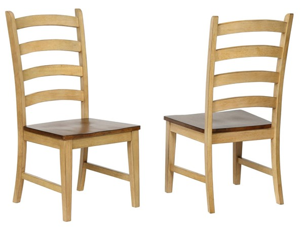 2 Sunset Trading Brook Wheat Pecan Ladder Back Dining Side Chairs SST-DLU-BR-C80-PW-2