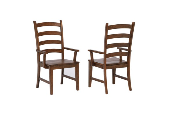 2 Sunset Trading Simply Brook Brown Ladder Back Dining Arm Chairs SST-DLU-BR-C80A-AM-2