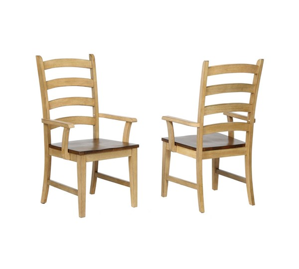 2 Sunset Trading Brook Wheat Pecan Ladder Back Dining Arm Chairs SST-DLU-BR-C80A-PW-2