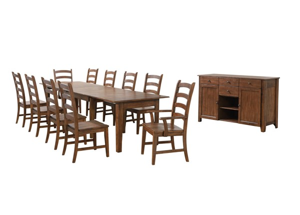 Sunset Trading Simply Brook Brown Rectangular Extendable 12pc Dining Set SST-DLU-BR134-AMSB12PC