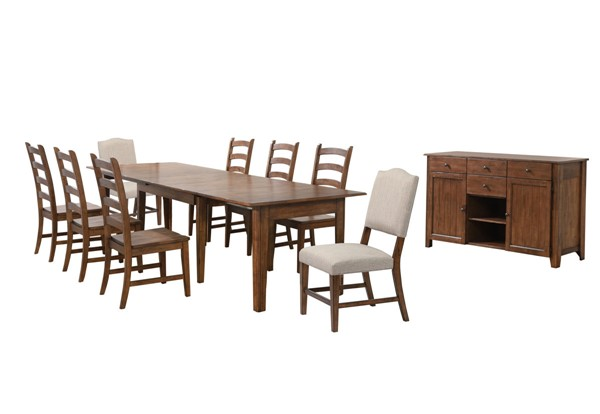 Sunset Trading Simply Brook Brown Extendable 10pc Dining Set. SST-DLU-BR134-C85AMSB10P