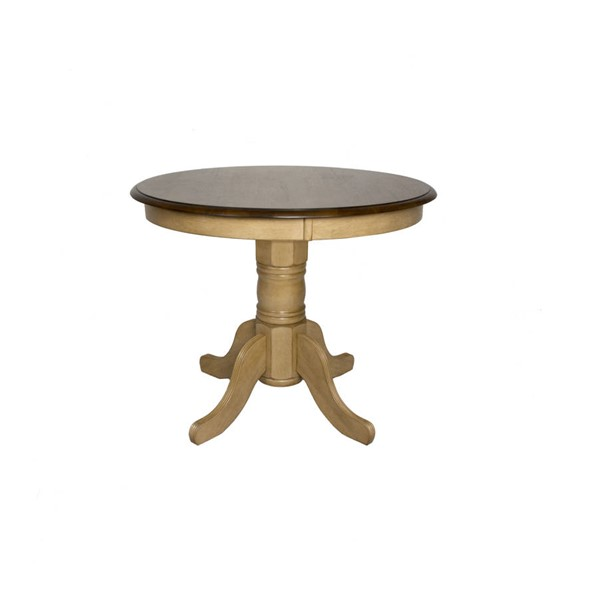 Sunset Trading Brook Wheat Pecan Round Pedestal Dining Table SST-DLU-BR3636-PW