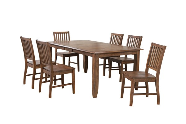 Sunset Trading Simply Brook Brown Extendable 7pc Dining Set SST-DLU-BR4272-C60-AM7PC
