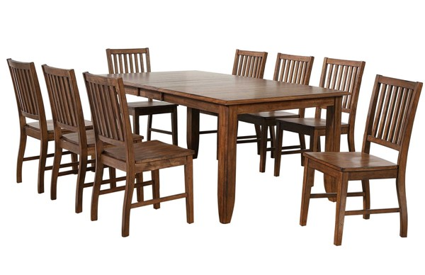 Sunset Trading Simply Brook Brown Extendable 9pc Dining Set SST-DLU-BR4272-C60-AM9PC