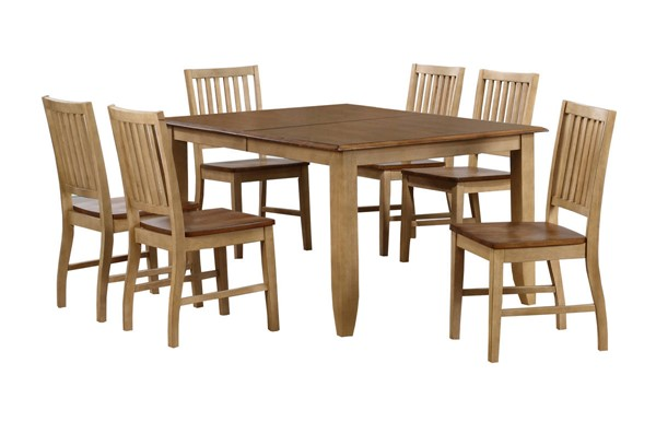 Sunset Trading Brook Wheat Pecan Extendable 7pc Table Dining Set SST-DLU-BR4272-C60-PW7PC