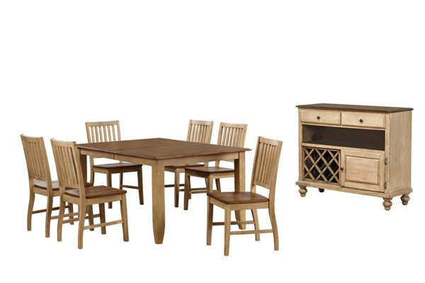 Sunset Trading Brook Wheat Pecan Extendable 8pc Table Dining Set with Server SST-DLU-BR4272-C60-SRPW8PC