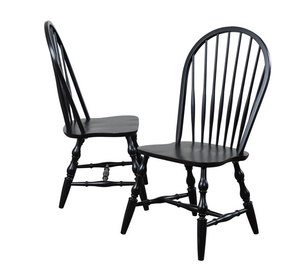 2 Sunset Trading Antique Black Windsor Spindleback Dining Chairs SST-DLU-C30-AB-2