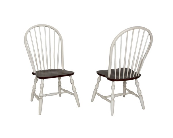 Sunset Trading Andrews Antique White Chestnut Windsor Spindleback Dining Chairs SST-DLU-C30-DCH-VAR