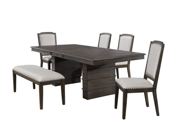 Sunset Trading Cali Gray Brown Extendable 6pc Dining Set SST-DLU-CA113-4C-BN6PC