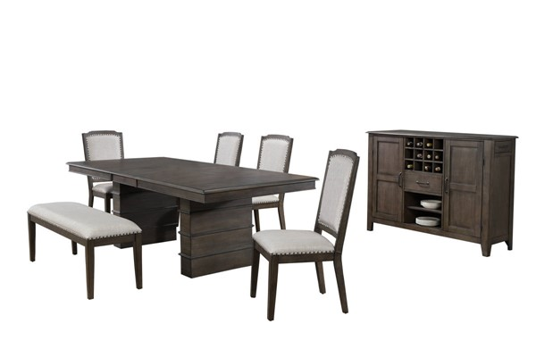 Sunset Trading Cali Gray Brown Extendable 7pc Dining Set SST-DLU-CA113-4C-BNSR7PC