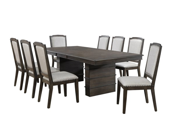 Sunset Trading Cali Gray Brown Extendable 9pc Dining Set SST-DLU-CA113-8C-9PC