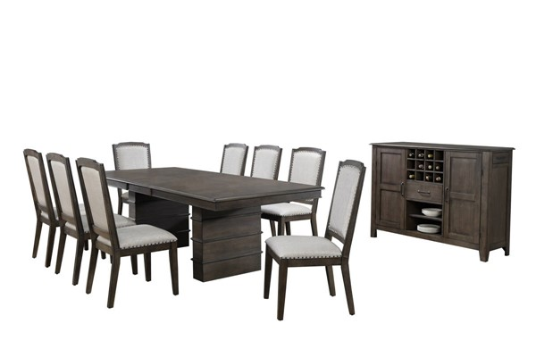 Sunset Trading Cali Gray Brown Extendable 10pc Dining Set with Server SST-DLU-CA113-8C-SR10PC