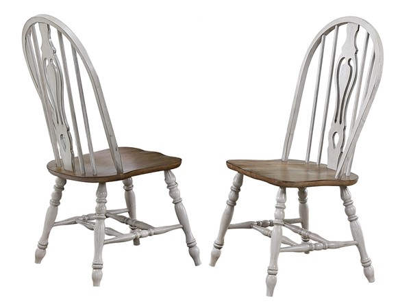 2 Sunset Trading Country Grove Distressed Light Gray Walnut Keyhole Dining Chairs SST-DLU-CG-124S-GO-2