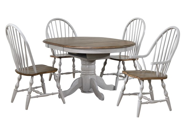 Sunset Trading Country Grove Light Gray Walnut Extendable 5pc Dining Set with Arm Chairs SST-DLU-CG4260-30AGO5