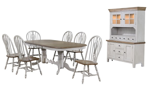 Sunset Trading Country Grove Light Gray Walnut Double Pedestal Extendable 8pc Dining Set SST-DLU-CG4296-124SGOBH8