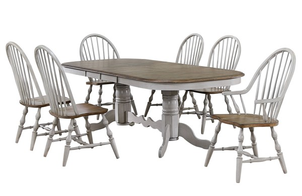 Sunset Trading Country Grove Light Gray Walnut Double Pedestal Extendable 7pc Dining Set with Arm Chairs SST-DLU-CG4296-30AGO7