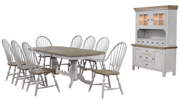 Sunset Trading Country Grove Light Gray Walnut Double Pedestal Extendable 10pc Dining Set SST-DLU-CG4296-30AGOBH10