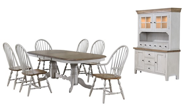 Sunset Trading Country Grove Light Gray Walnut Double Pedestal Extendable 8pc Dining Set with Arm Chairs SST-DLU-CG4296-30AGOBH8