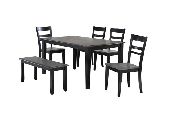 Sunset Trading Tempo Brook Grey Antique Black 6pc Dining Set SST-DLU-EB3660-C200-BN6PC