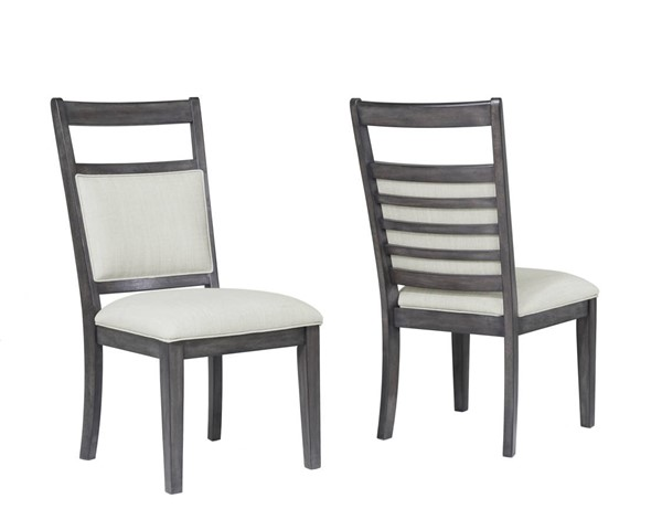 2 Sunset Trading Shades of Weathered Grey Upholstered Slat Back Dining Chairs SST-DLU-EL-C90-2