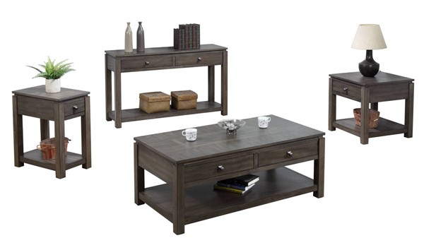 Sunset Trading Shades of Weathered Grey 4pc Coffee Table Set SST-DLU-EL1602-03-04-08