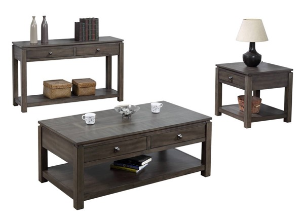 Sunset Trading Shades of Weathered Grey 3pc Coffee Table Set SST-DLU-EL1602-04-08