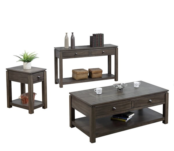 Sunset Trading Shades of Weathered Grey Narrow 3pc Coffee Table Set SST-DLU-EL1603-04-08