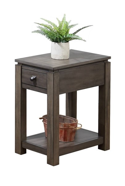 Sunset Trading Shades of Weathered Grey Narrow Drawer and Shelf End Table SST-DLU-EL1603