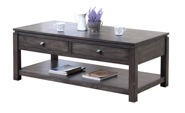 Sunset Trading Shades of Weathered Grey Drawers and Shelf Coffee Table SST-DLU-EL1608