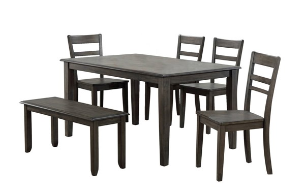 Sunset Trading Shades of Weathered Grey 6pc Dining Set SST-DLU-EL3660-C200-BN6PC
