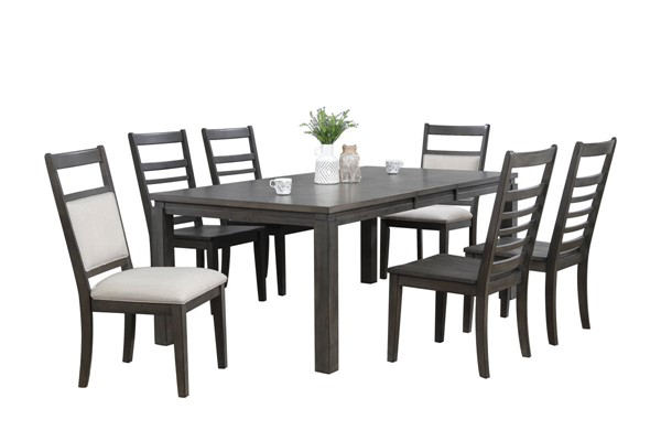 Sunset Trading Shades of Weathered Grey 7pc Dining Set with Upholstered End Chairs SST-DLU-EL9282-4C100-2C90-7PC
