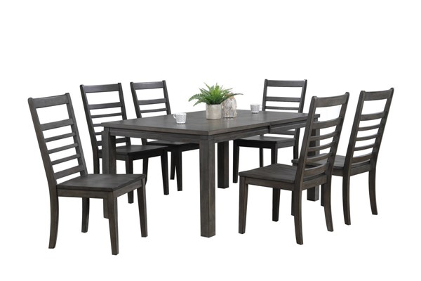 Sunset Trading Shades of Weathered Grey 7pc Dining Set with Ladder Back Chair SST-DLU-EL9282-C100-7PC