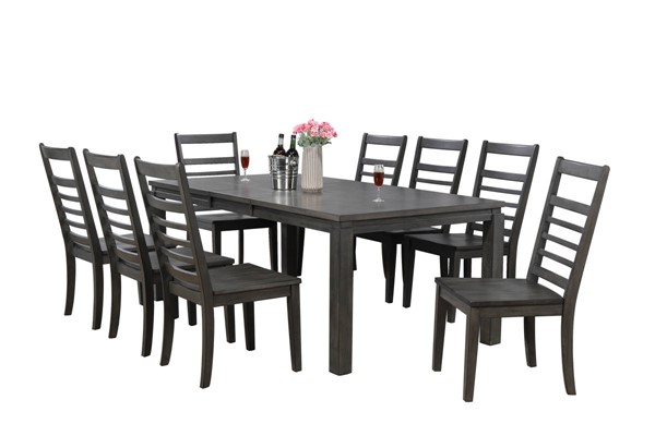 Sunset Trading Shades of Weathered Grey 9pc Dining Set with Ladder Back Chair SST-DLU-EL9282-C100-9PC