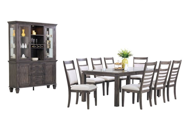 Sunset Trading Shades of Weathered Grey 11pc Dining Set with China Cabinet SST-DLU-EL9282-C90-BH11PC