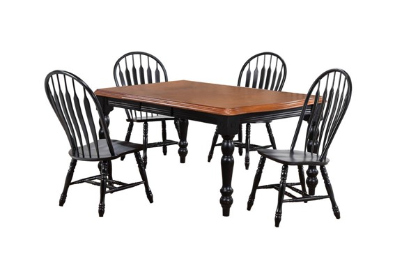 Sunset Trading Antique Black Cherry Extendable 5pc Dining Set with Comfort Back Chairs SST-DLU-SLT4272-4130-AB5PC